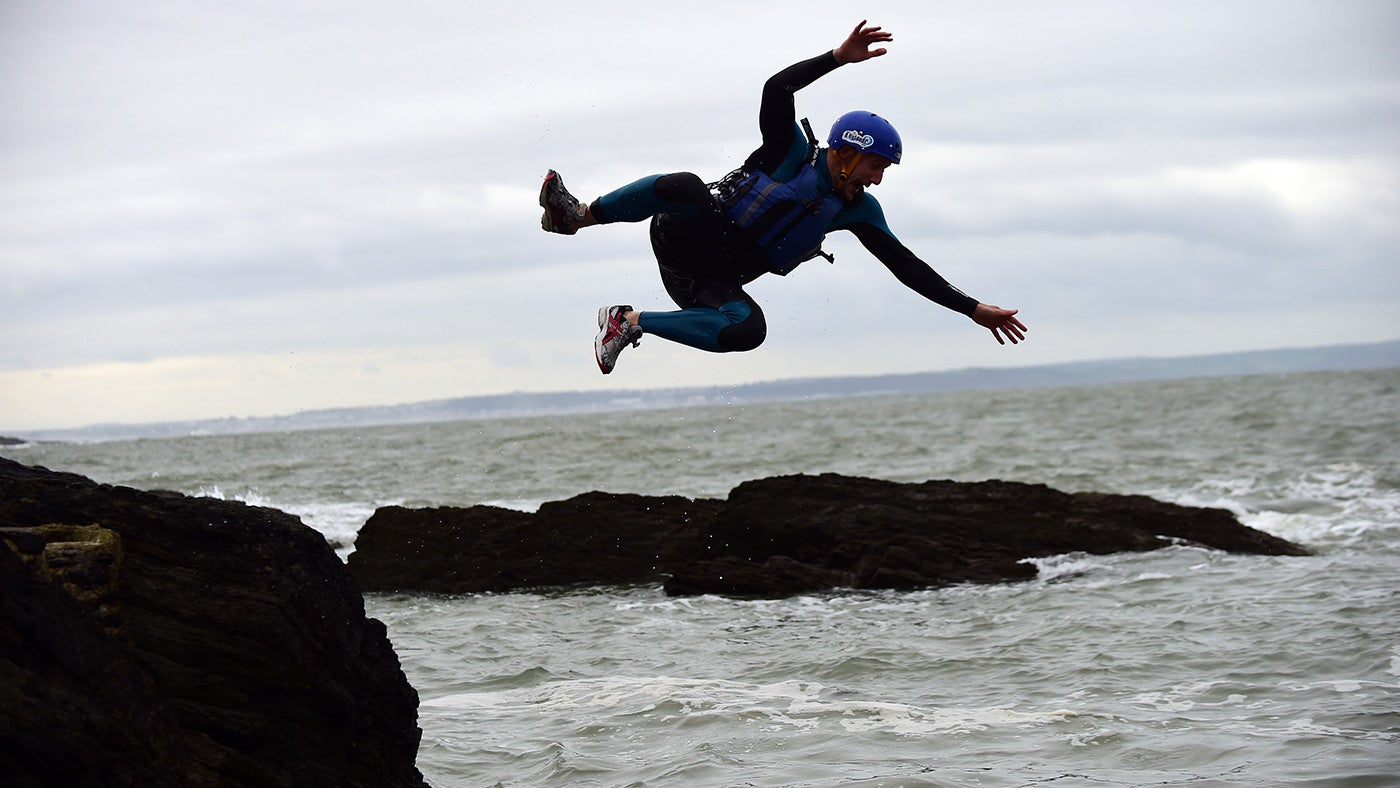 Coasteering at Baggy Point, Devon
