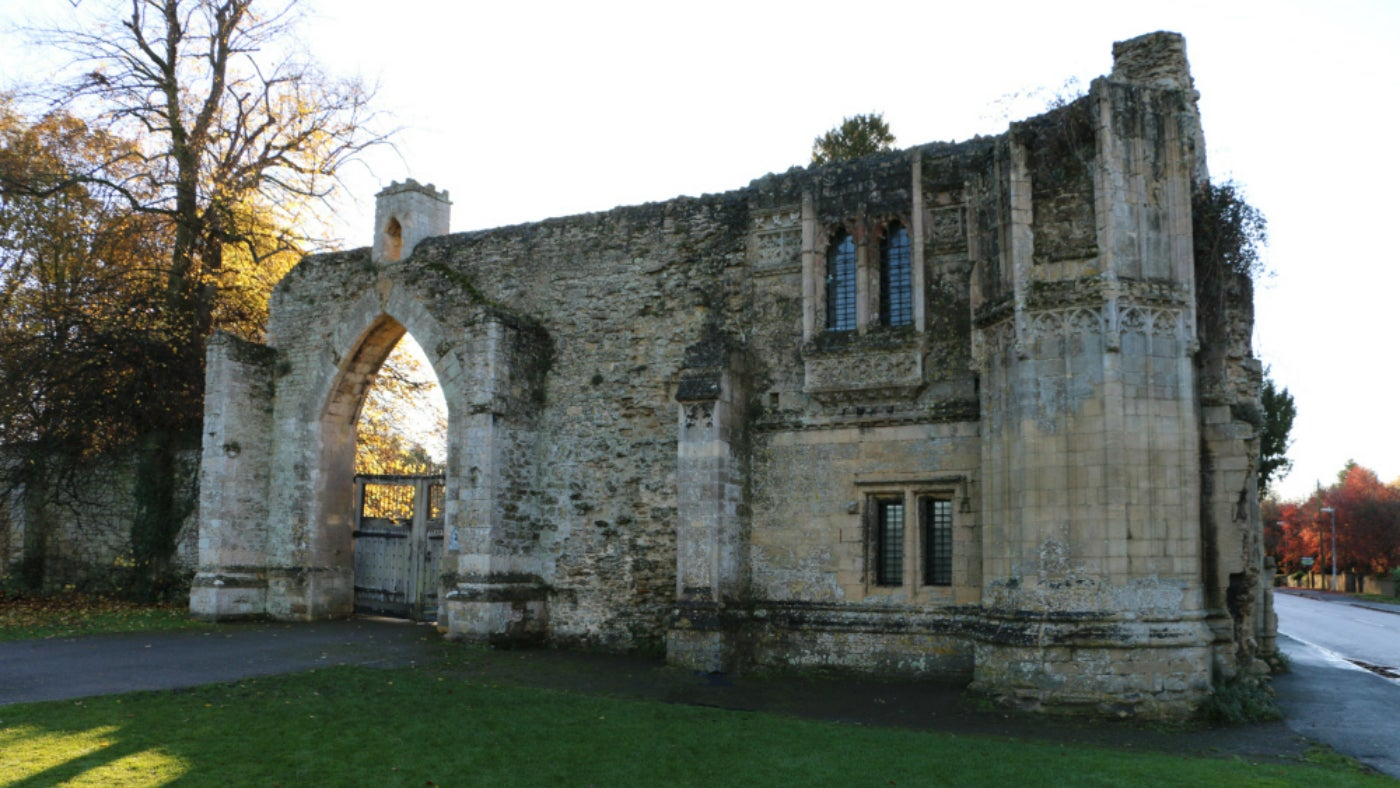Ramsey Abbey Gatehouse in the autumn