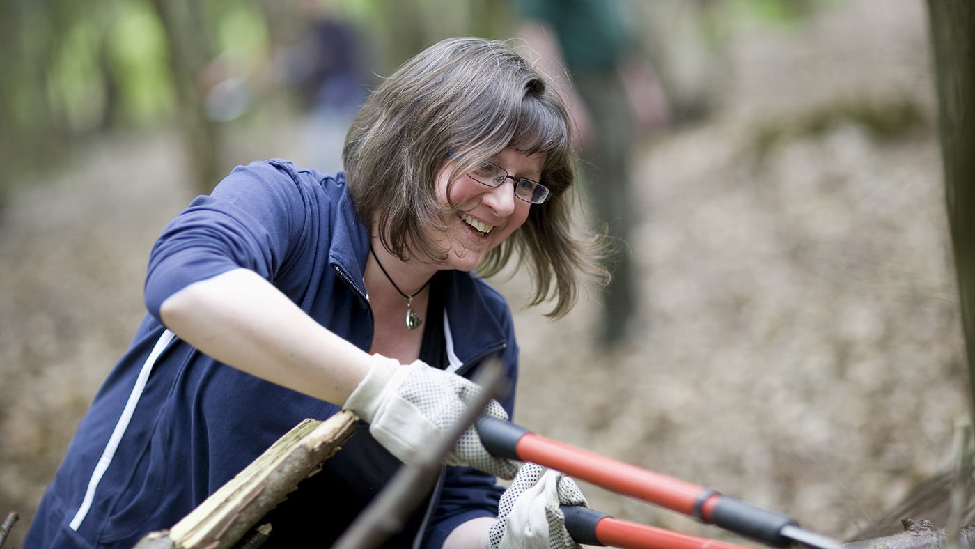 Volunteer learning woodland skills on a working holiday