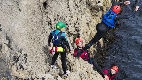 Coasteering at Stackpole, Pembrokeshire
