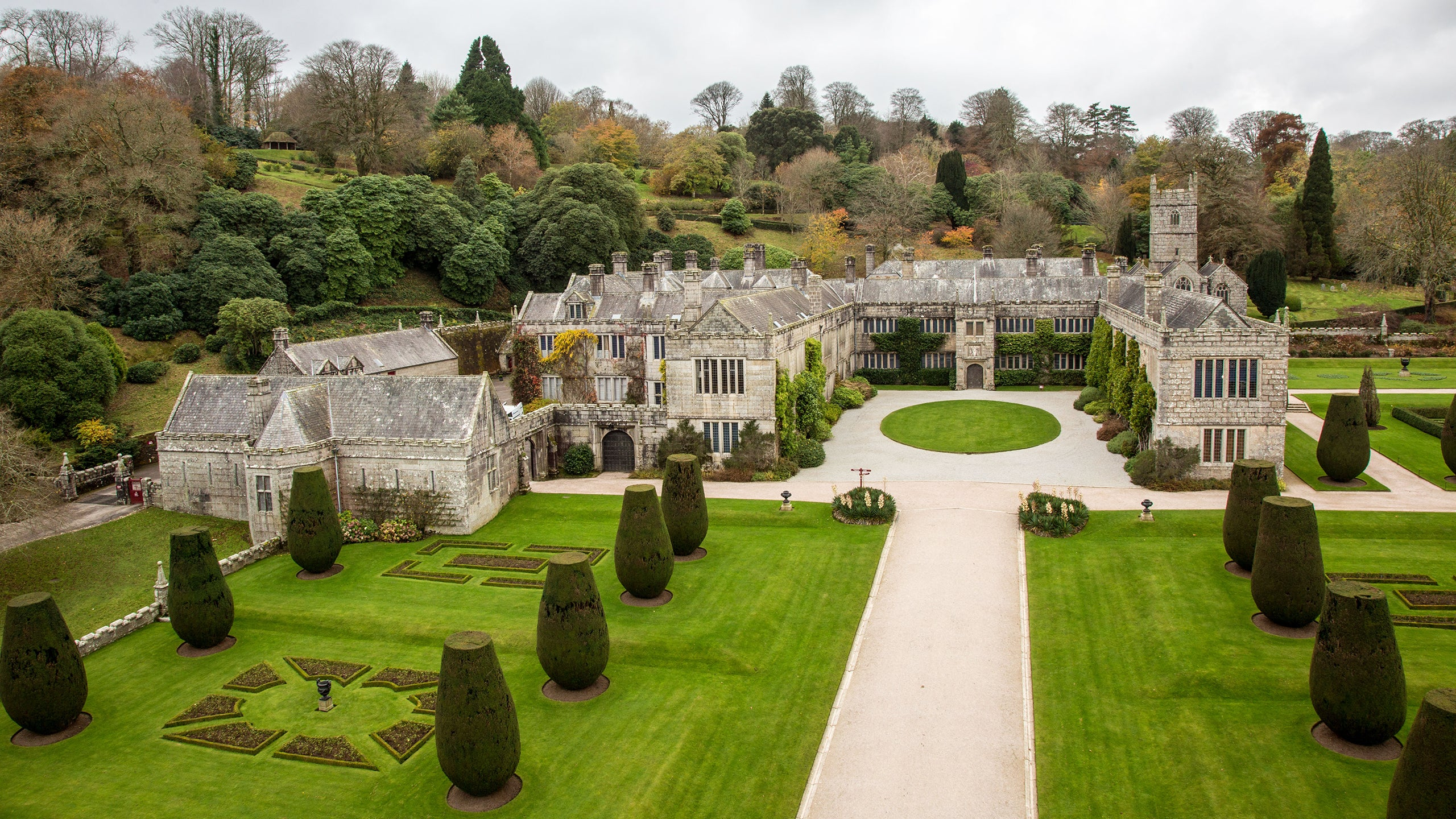 View of the house and garden at Lanhydrock, Cornwall