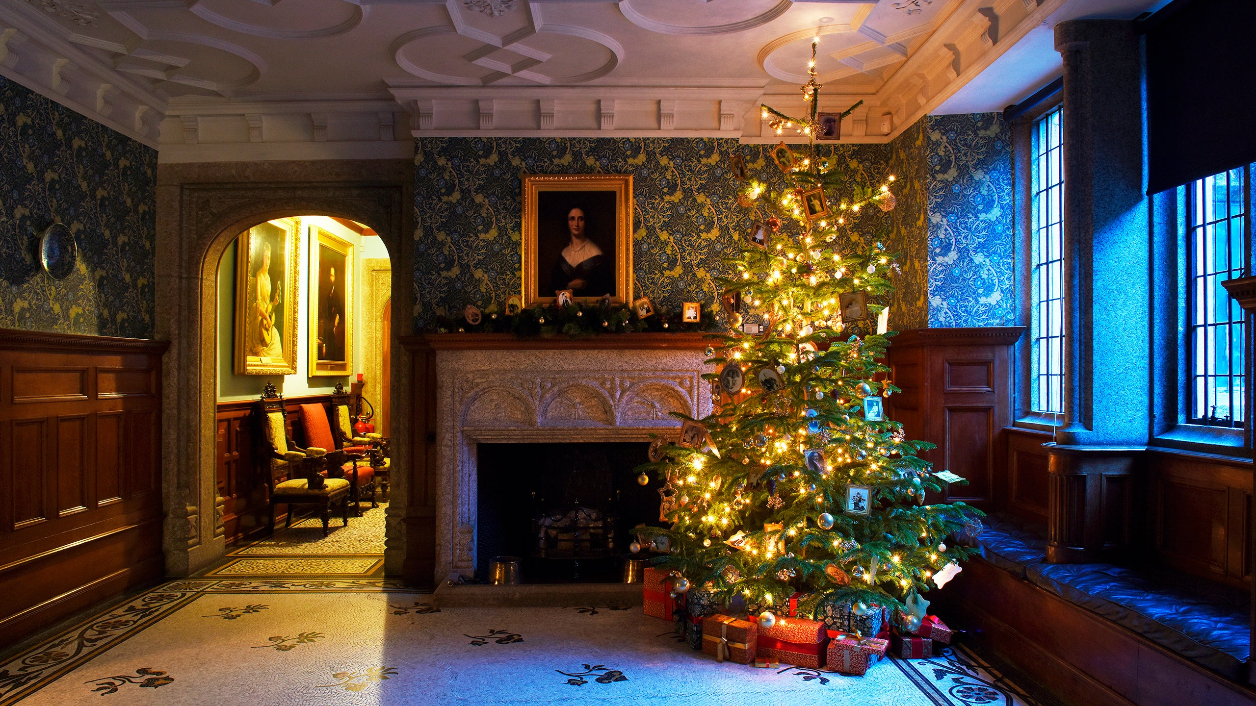 The house decorated for Christmas at Lanhydrock, Cornwall