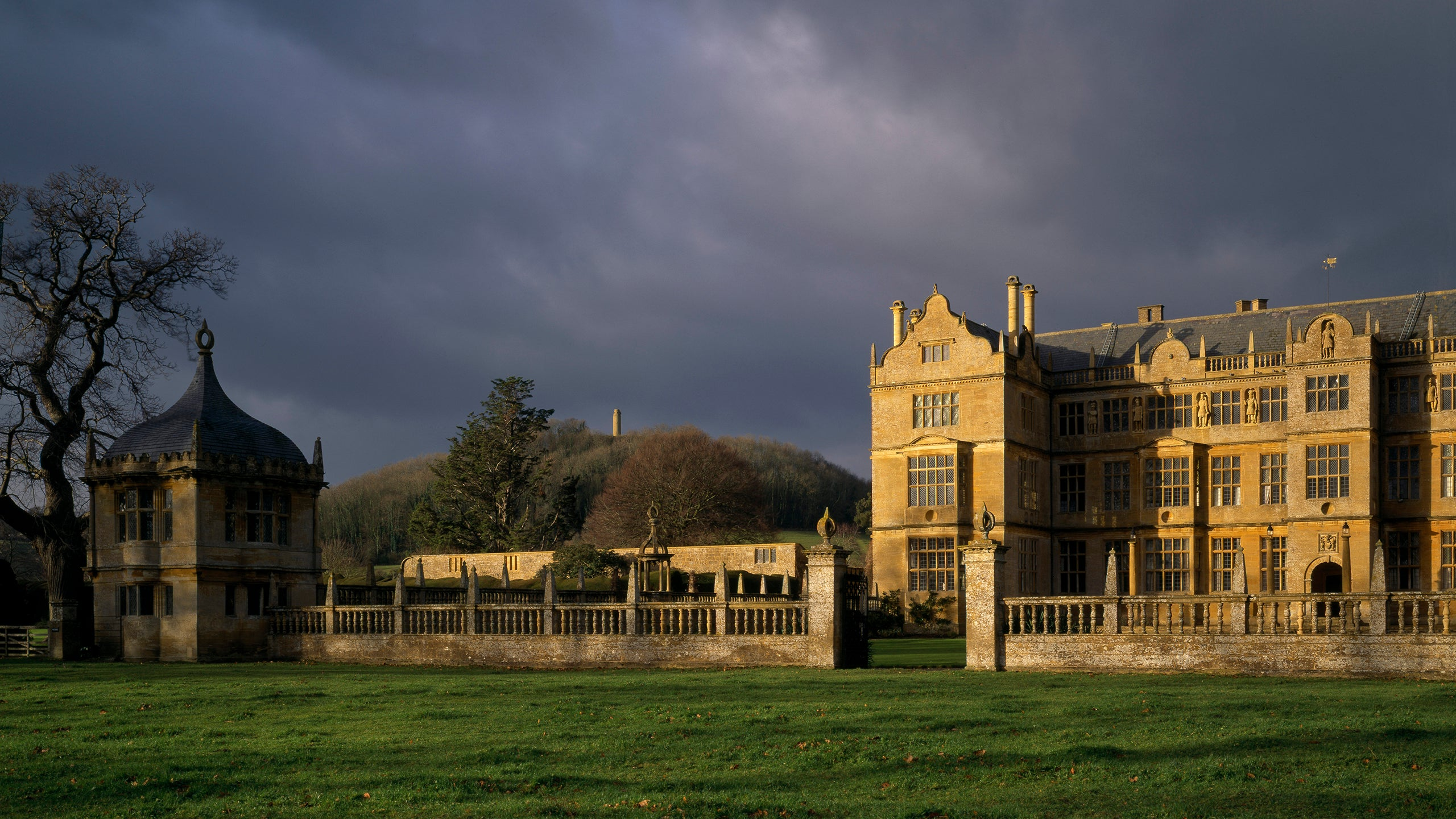 Montacute House, Somerset, with stormy sky behind