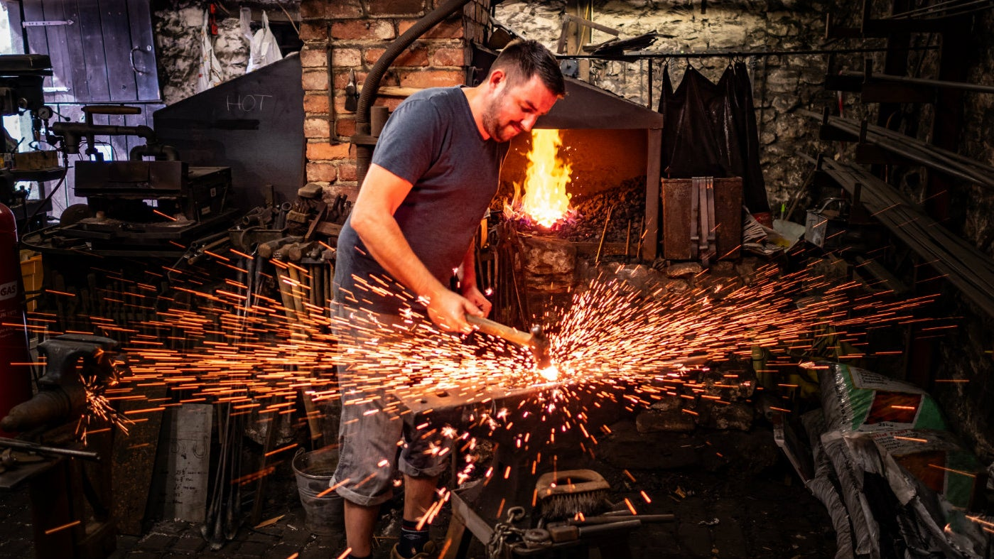 Striking while the iron is hot at the Old Forge in Branscombe
