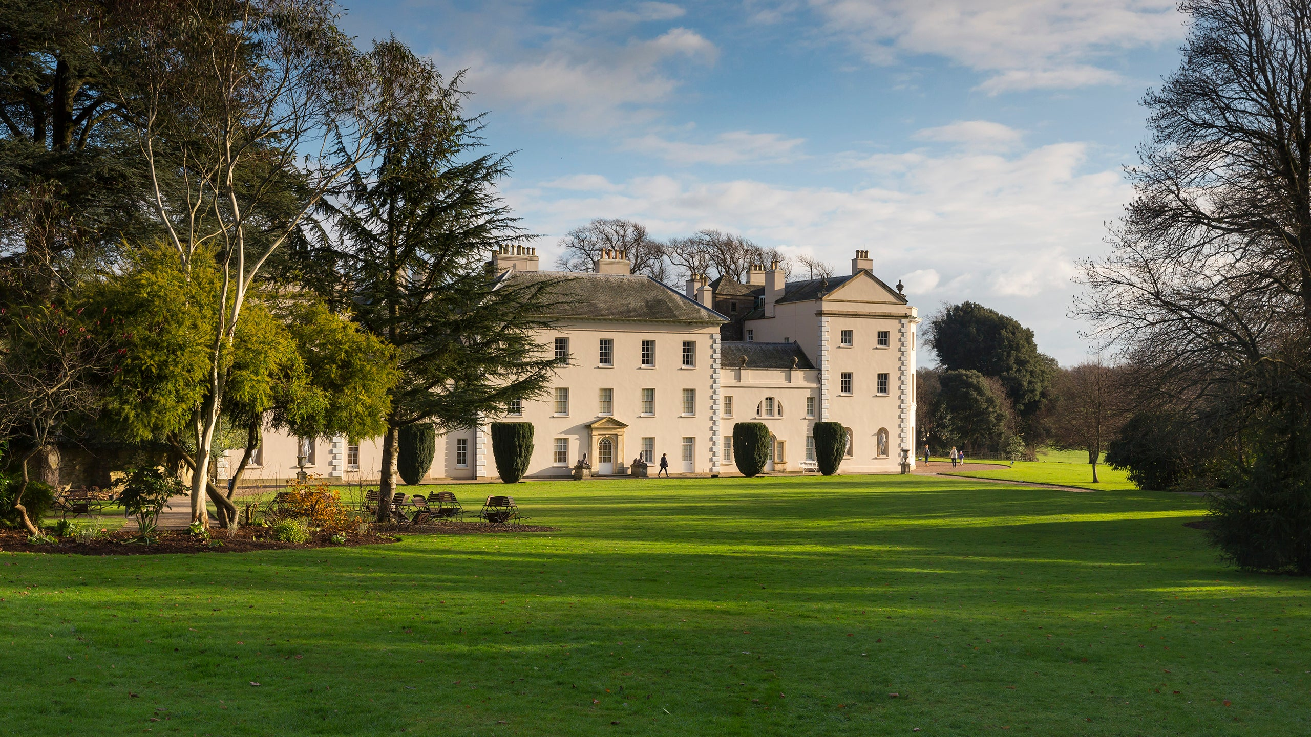 The house and parkland in winter at Saltram, Devon