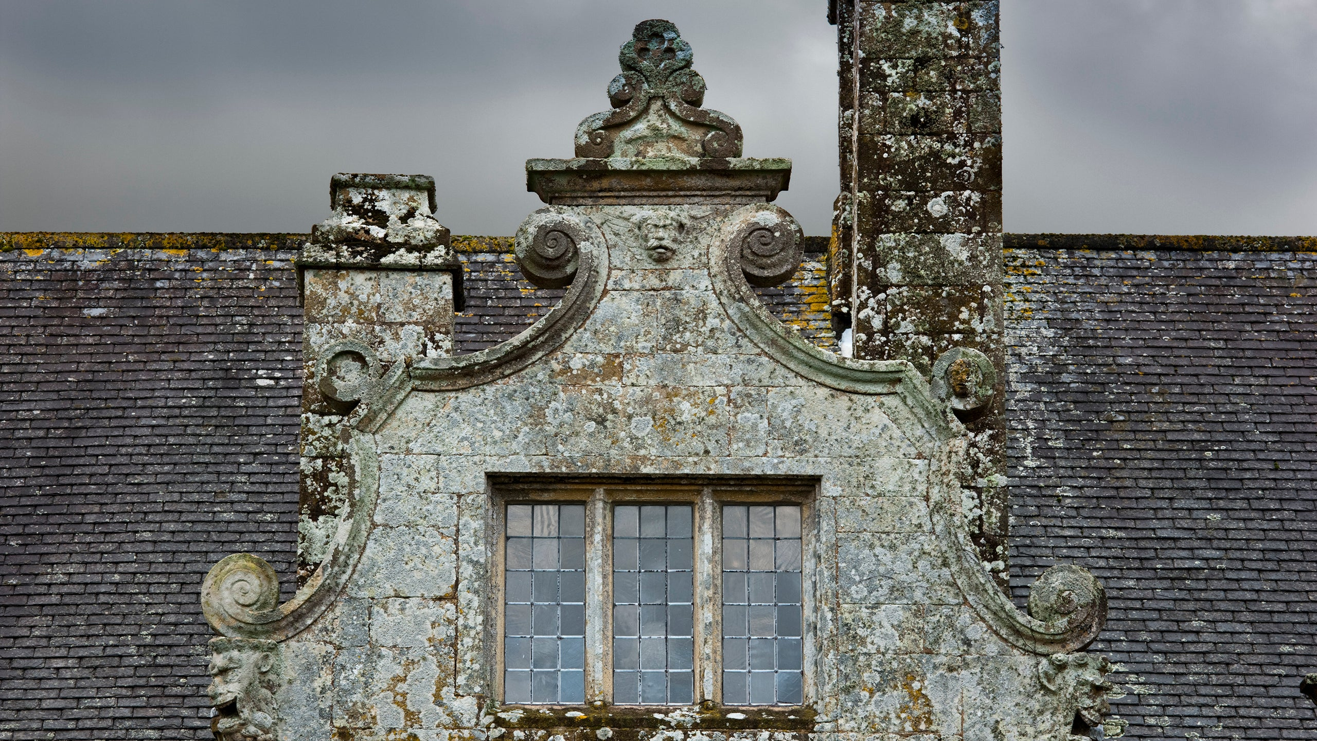 Detail of a Dutch-style gable on the east front at Trerice, Cornwall