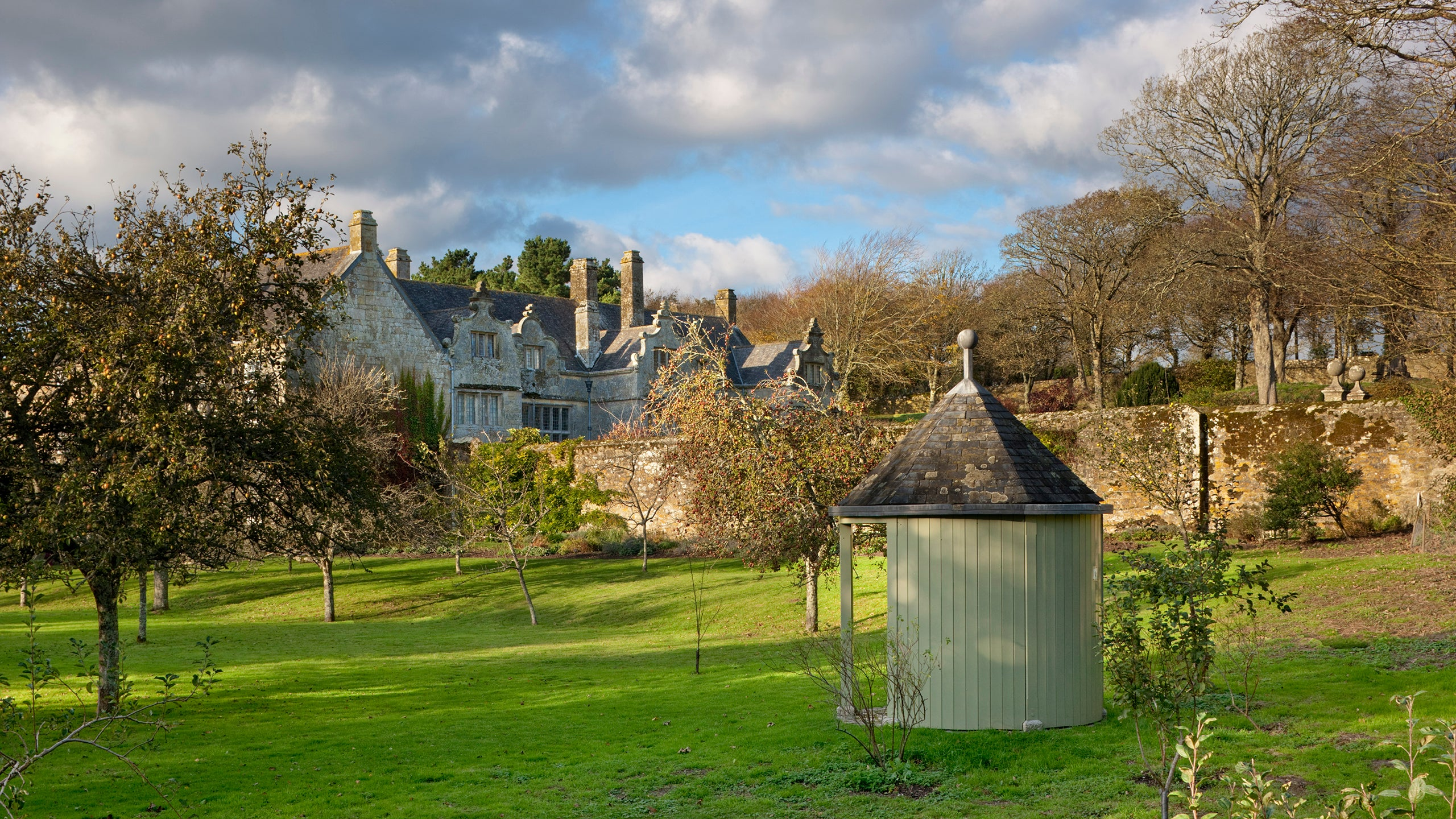 View of the house from the orchard at Trerice, Cornwall