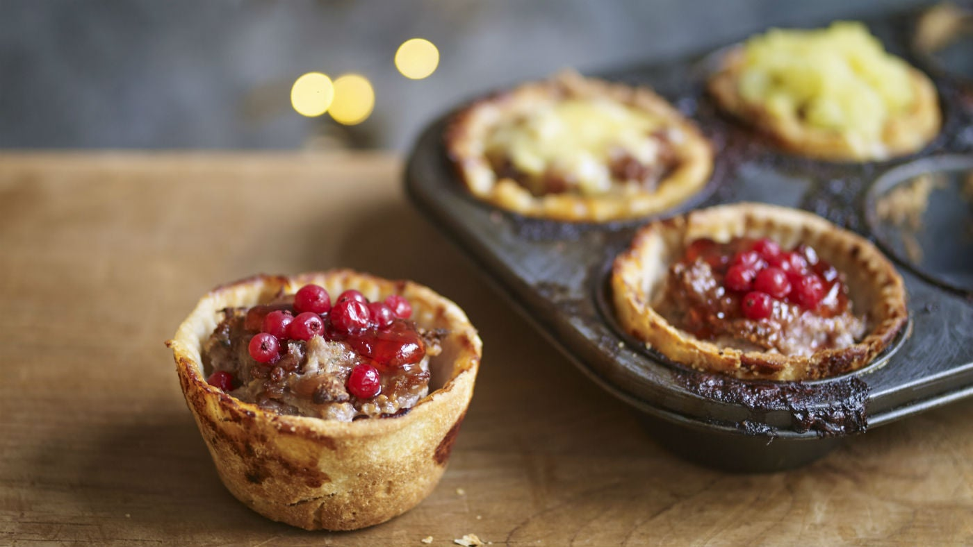 Festive pork pies topped with apple, redcurrant and Stilton