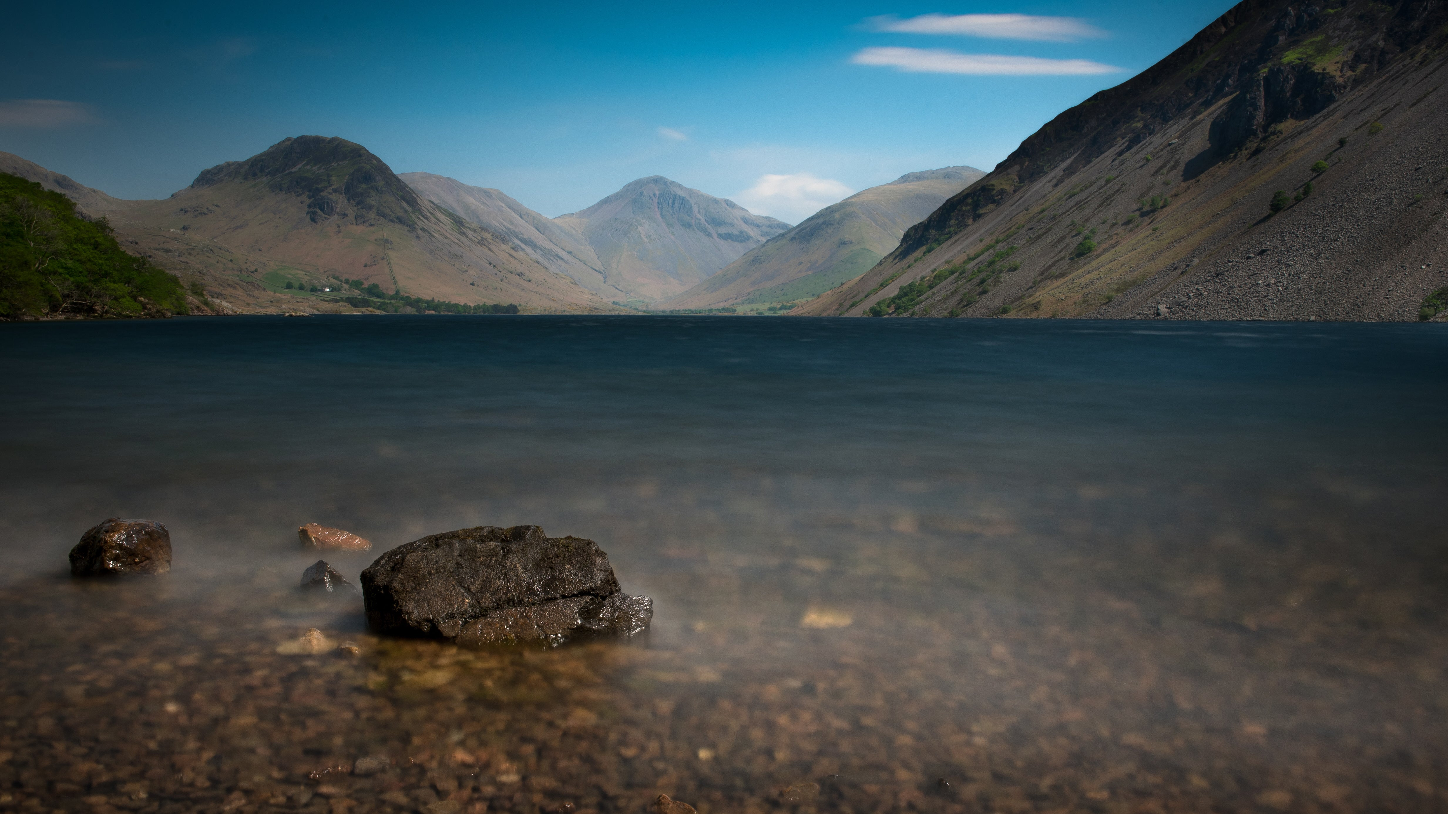 Great Gable rises above Wastwater in Cumbria.