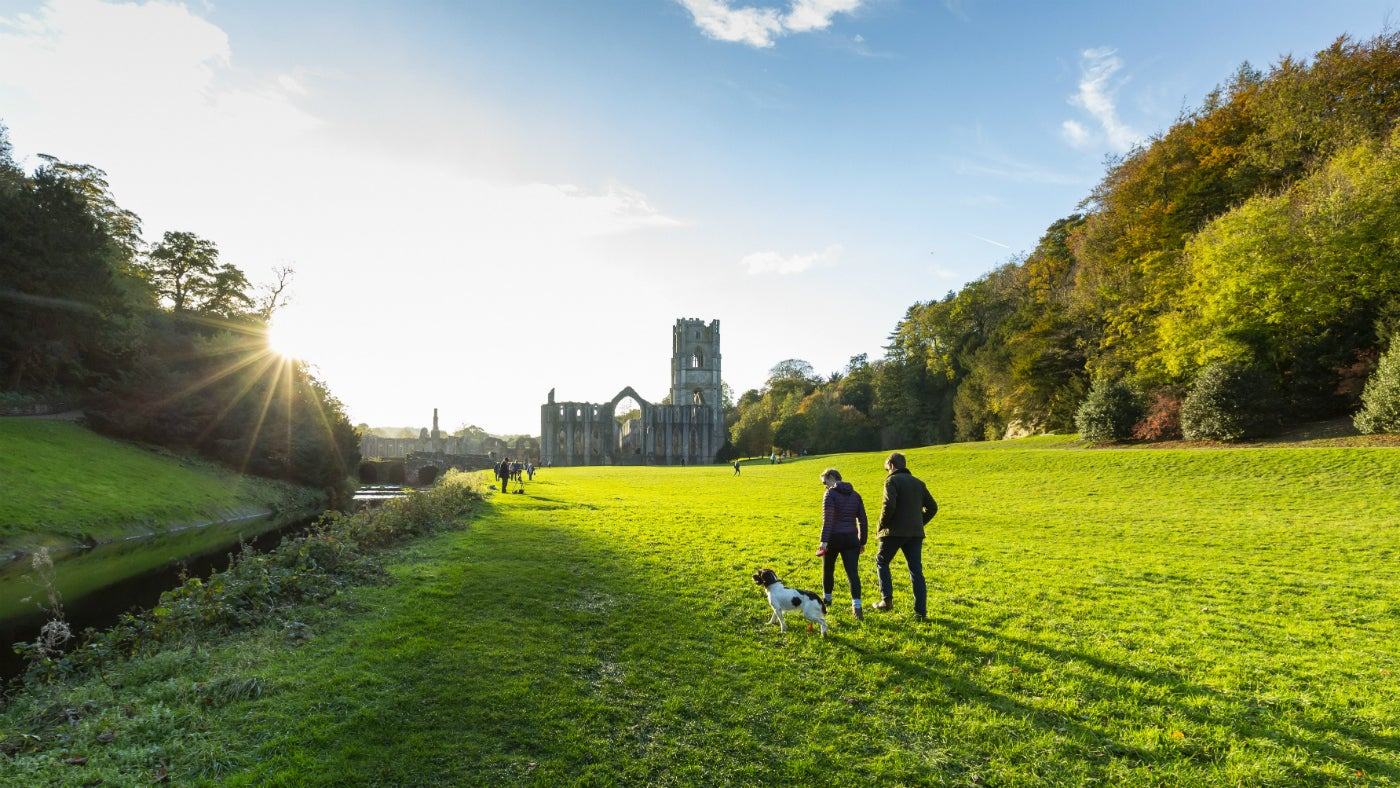 Walking from the garden to Fountains Abbey