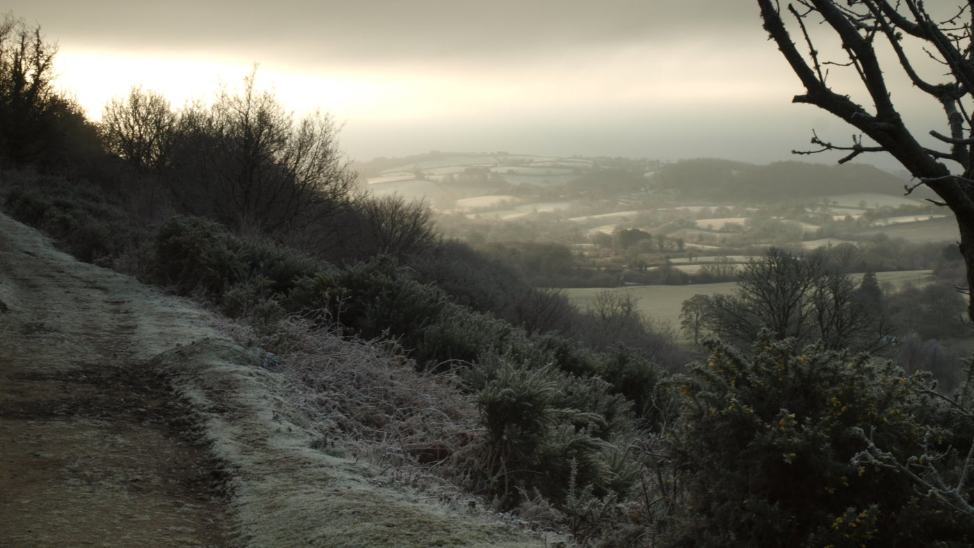 Frosty morning on Hunters path at Castle Drogo, Devon