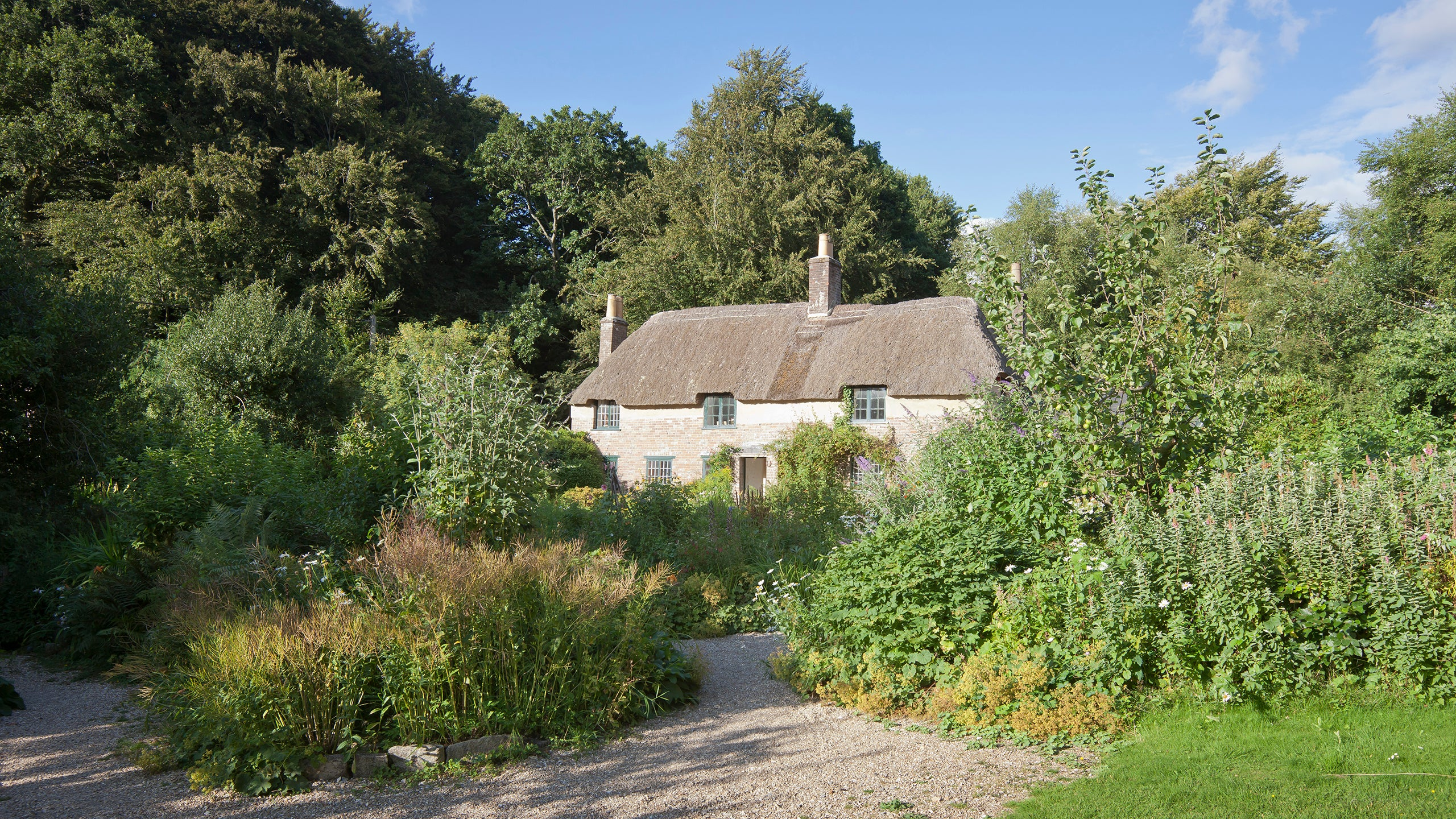 A view of the house from the garden at Hardy's Cottage, Dorset