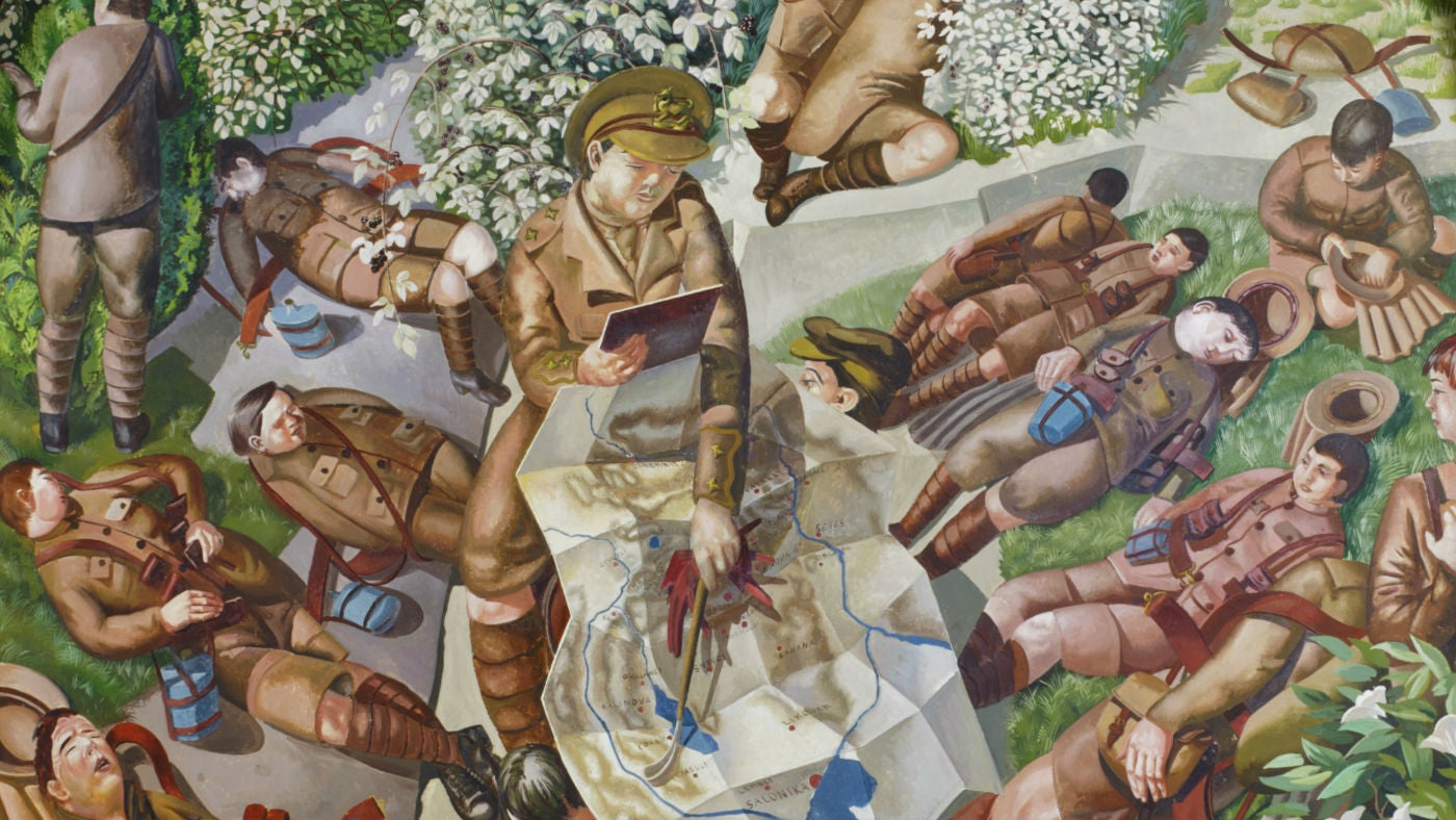 Soldiers map reading mural by Stanley Spencer