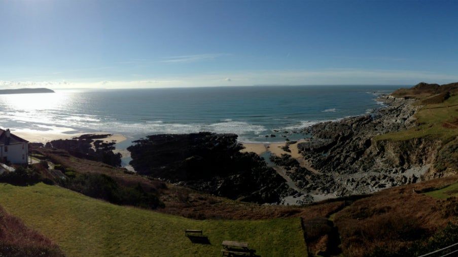 Combesgate beach with Woolacombe beach beyond, view from Mortehoe