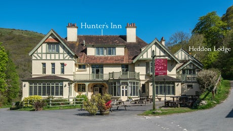 The exterior of Hunter's Inn and Heddon Lodge, Heddon Valley, Devon