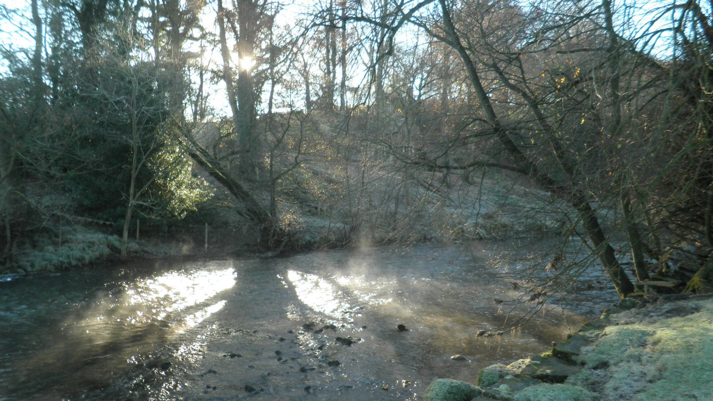Low winter sun shines on the River Dove in Dovedale