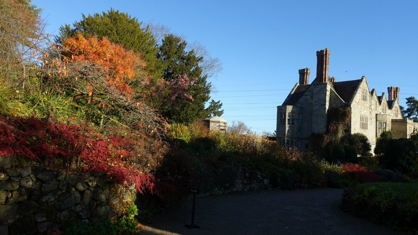 View of Benthall Hall from the west side with Autumn colour