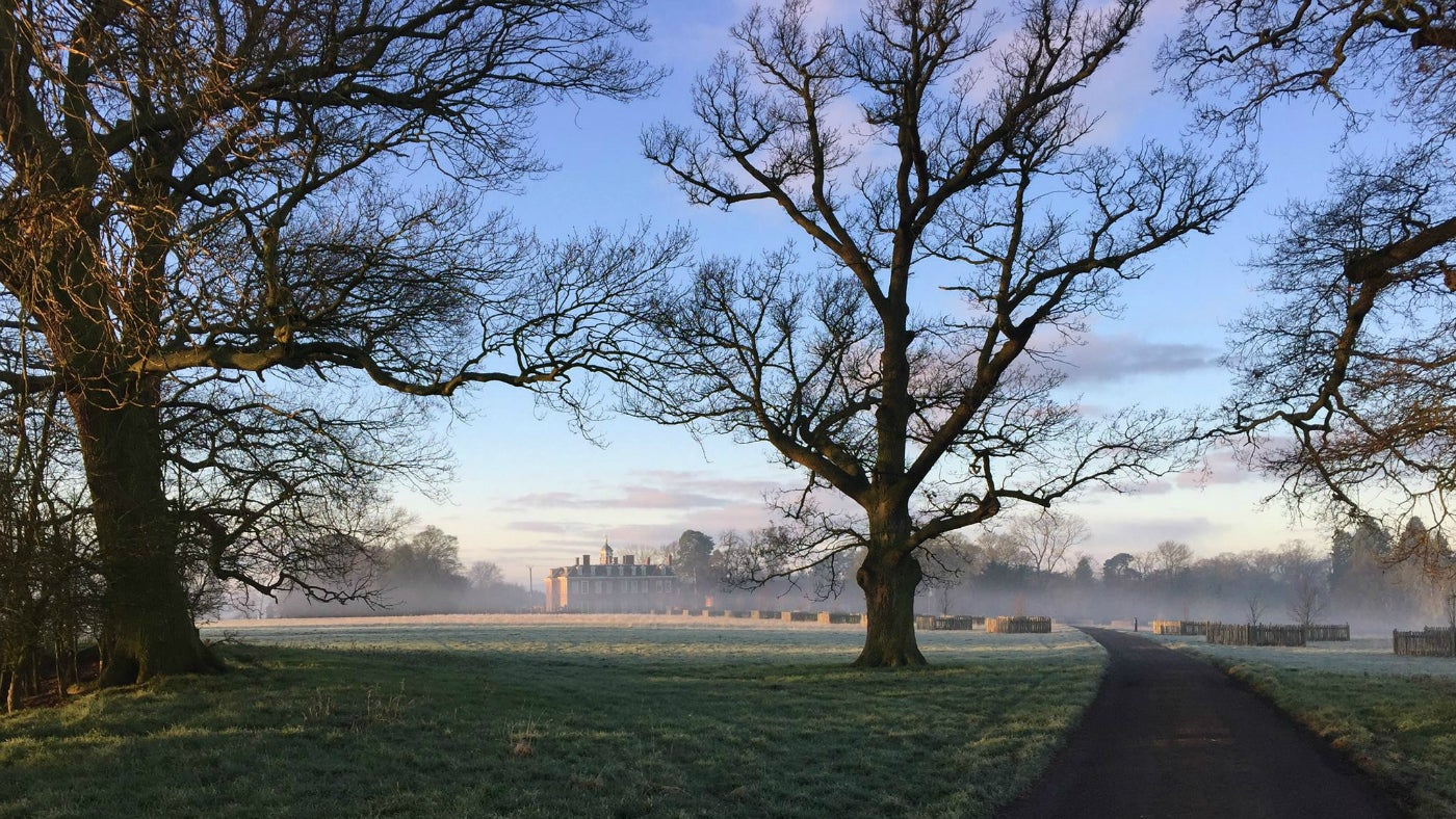 A misty morning at Hanbury Hall