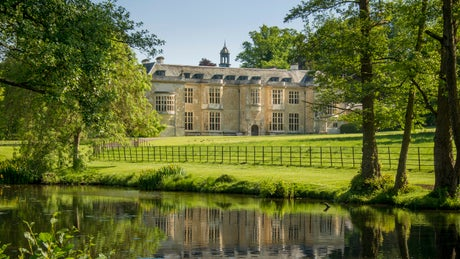 The exterior of Hartwell House and Spa from the lake, Buckinghamshire