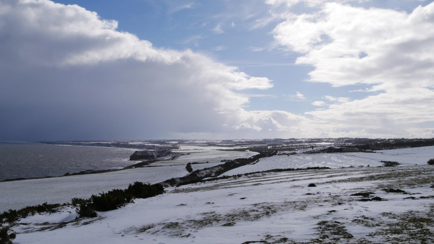 A snowy view of the Durham Coast from Beacon Hill towards Easington