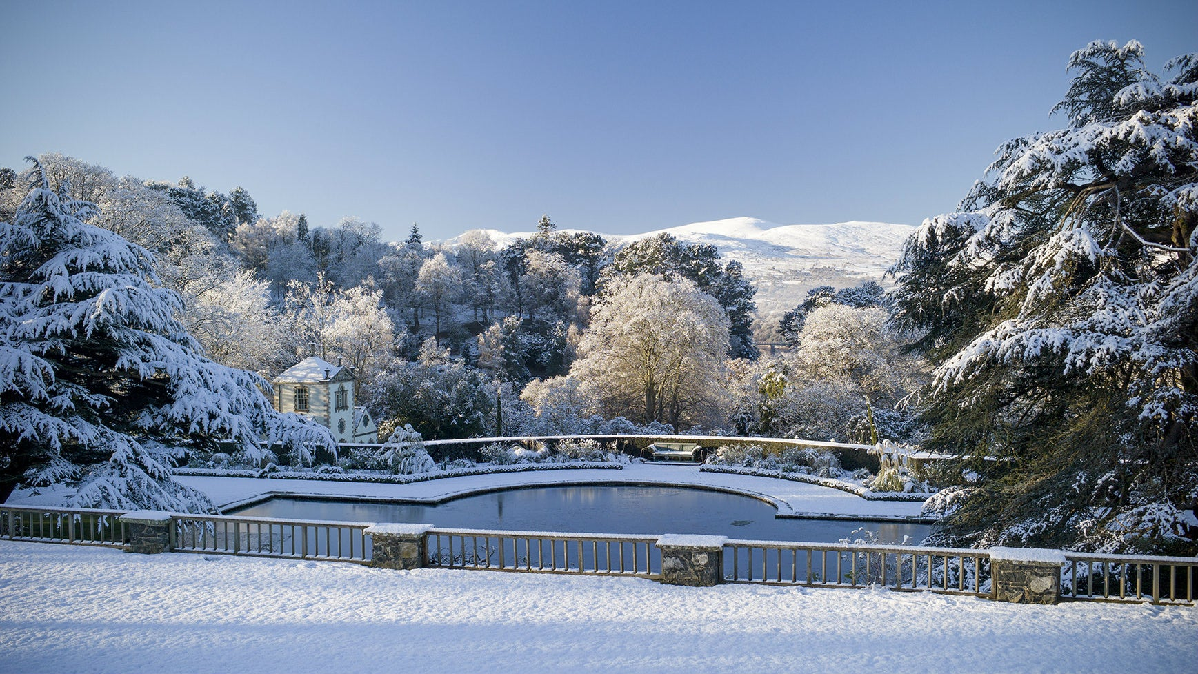 Bodnant Garden, Conwy - view in winter