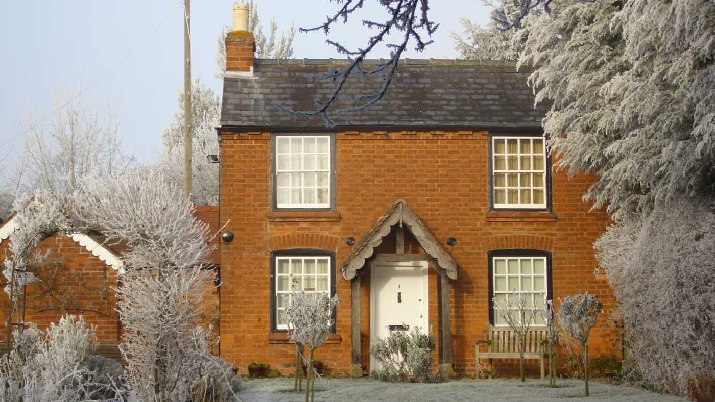 Elgar's birthplace cottage in winter