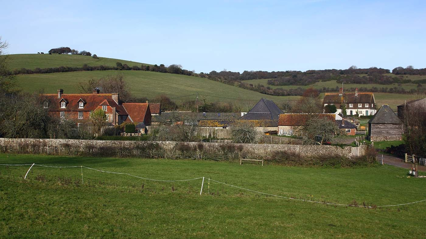 Saddlescombe Farm and Newtimber Hill in winter