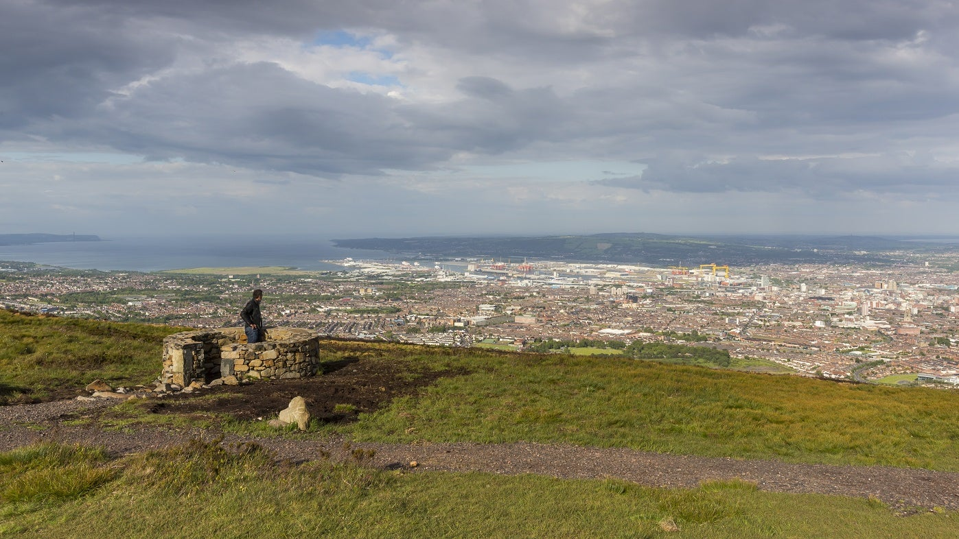 The Divis ridge trail view across Belfast