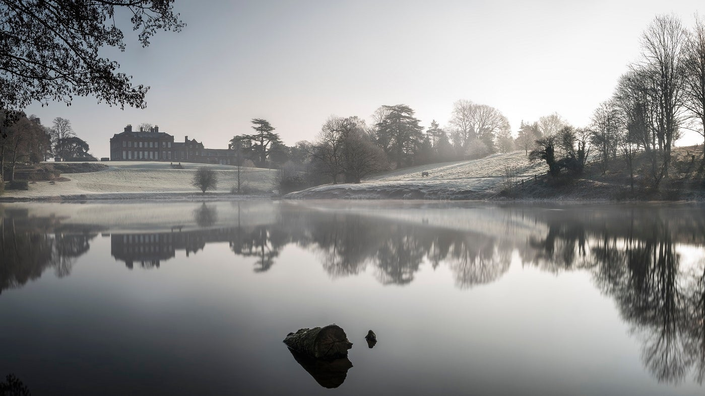 Dudmaston hall big pool winter frost