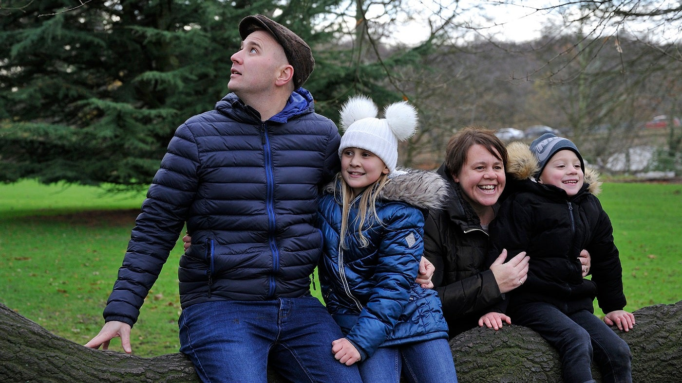 Family in the gardens at Nostell in winter