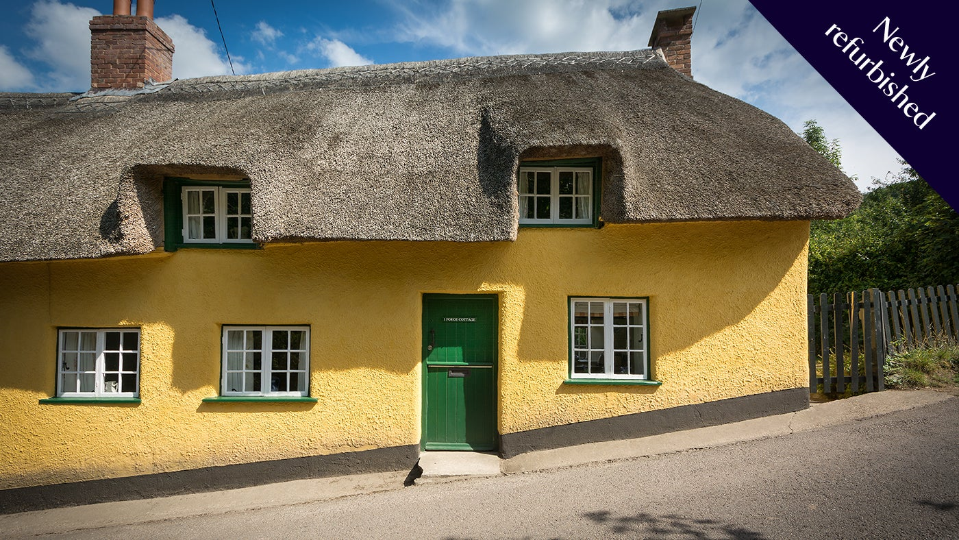 Newly refurbished, the exterior of Forge Cottage, Branscombe, Devon