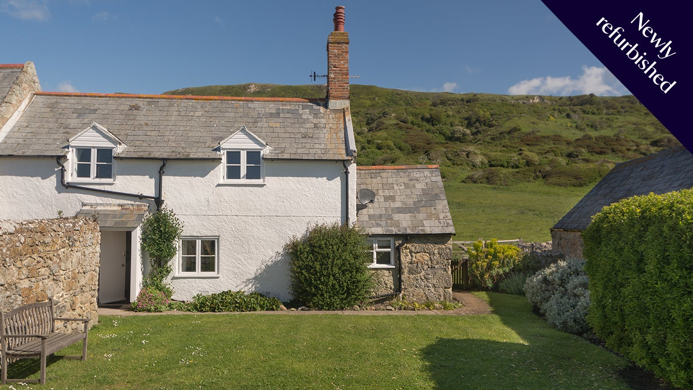 Newly refurbished, the exterior of Knowles Farm Cottage, nr Ventnor, Isle of Wight