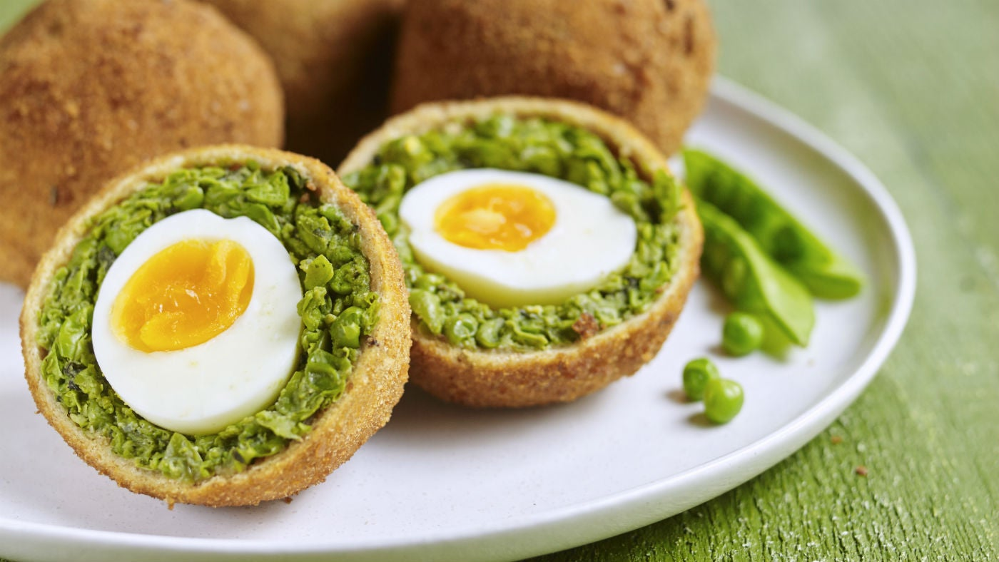 Pea and mint scotch eggs