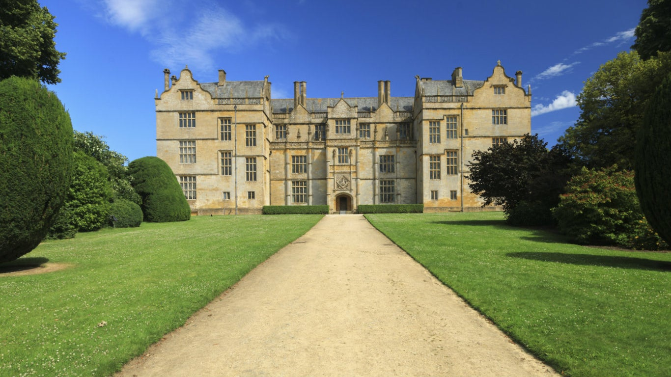 View of Montacute House from the west drive