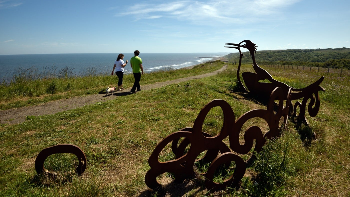Two people and a dog walk past a sculpture of a tern on the edge of a grassy cliff top overlooking blue sea