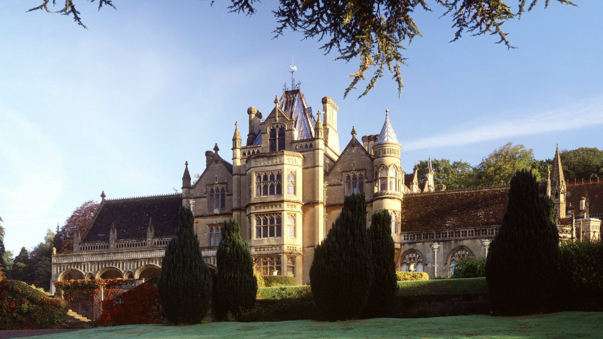 The front of Tyntesfield in the morning dew