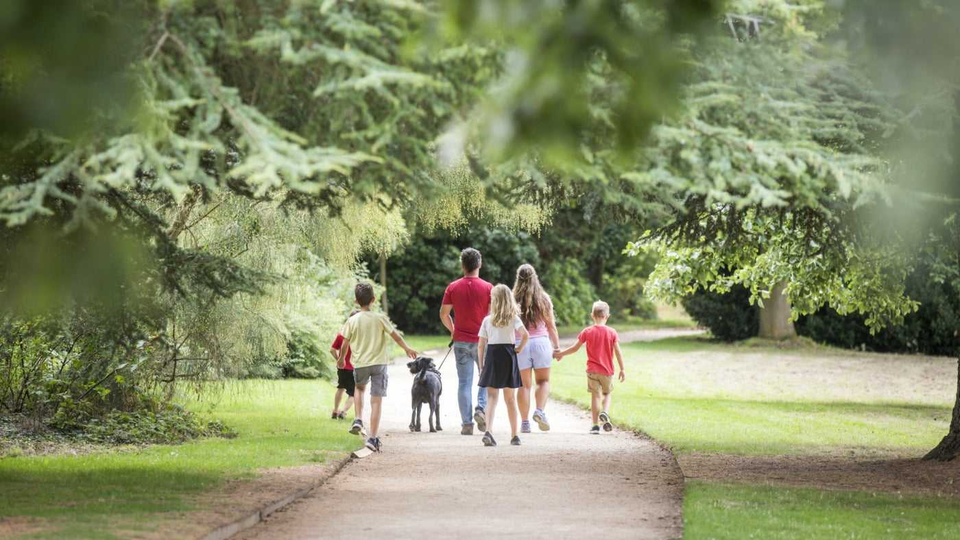 A family and their dog walking in the garden