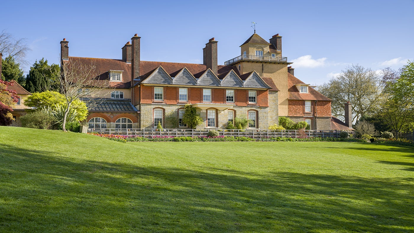 The South Front view of Standen House in West Sussex