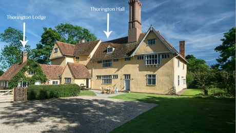 The exterior of Thorington Hall and Thorington Lodge, nr Stoke-by-Nayland, Suffolk