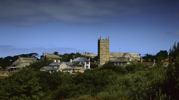 The view towards the village at Zennor on the north coast of Cornwall