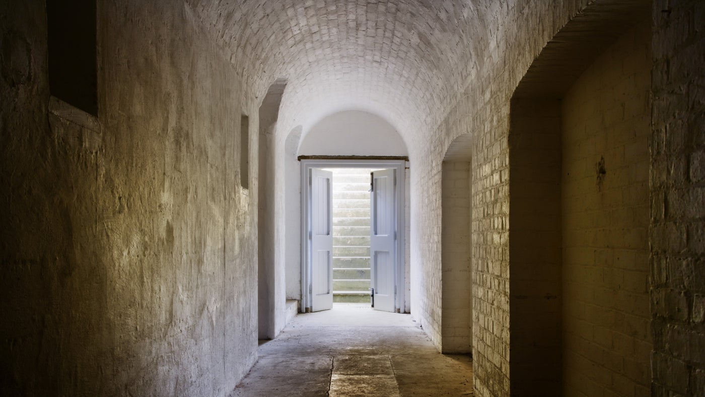 The interior of Reigate Fort, Surrey, open on special event days