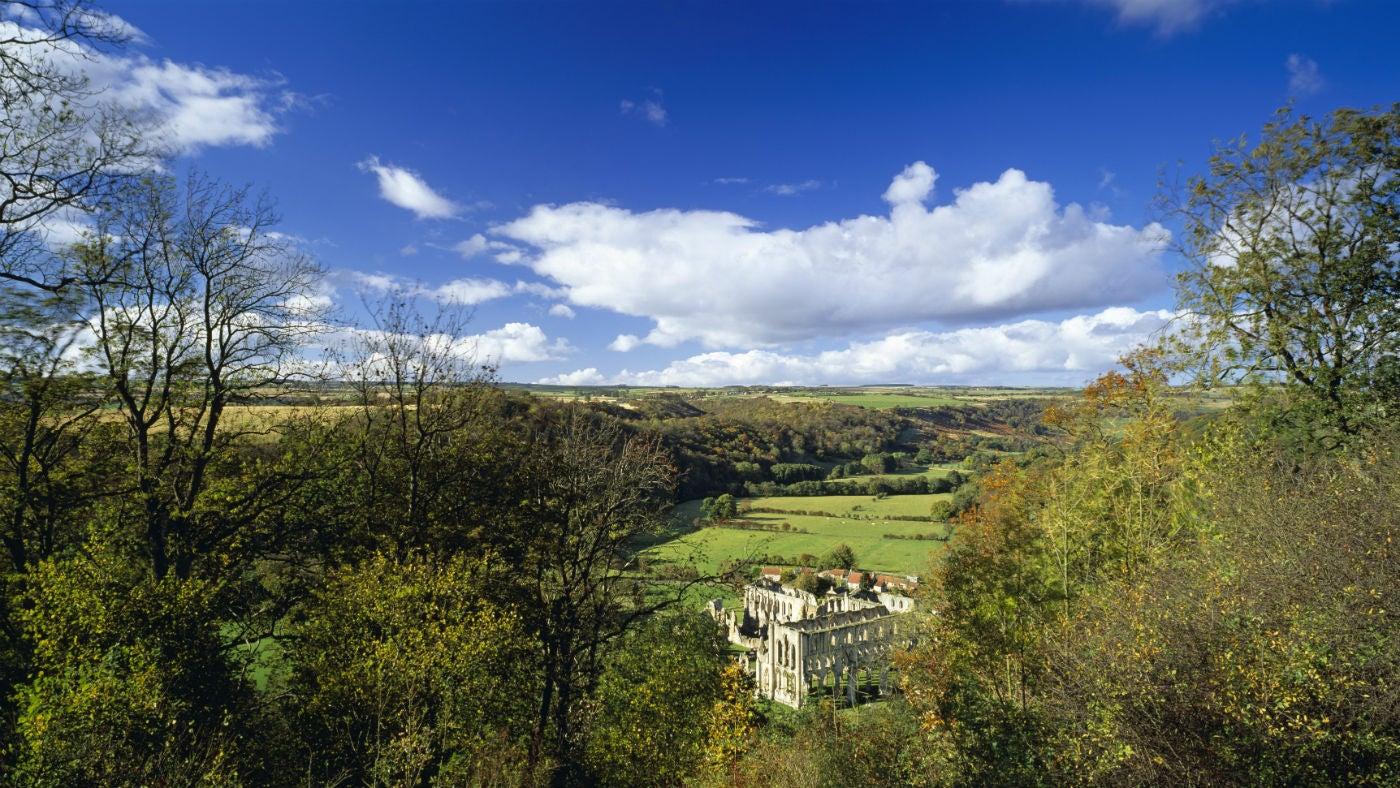 View from Rievaulx Terrace with the remains of Rievaulx Abbey