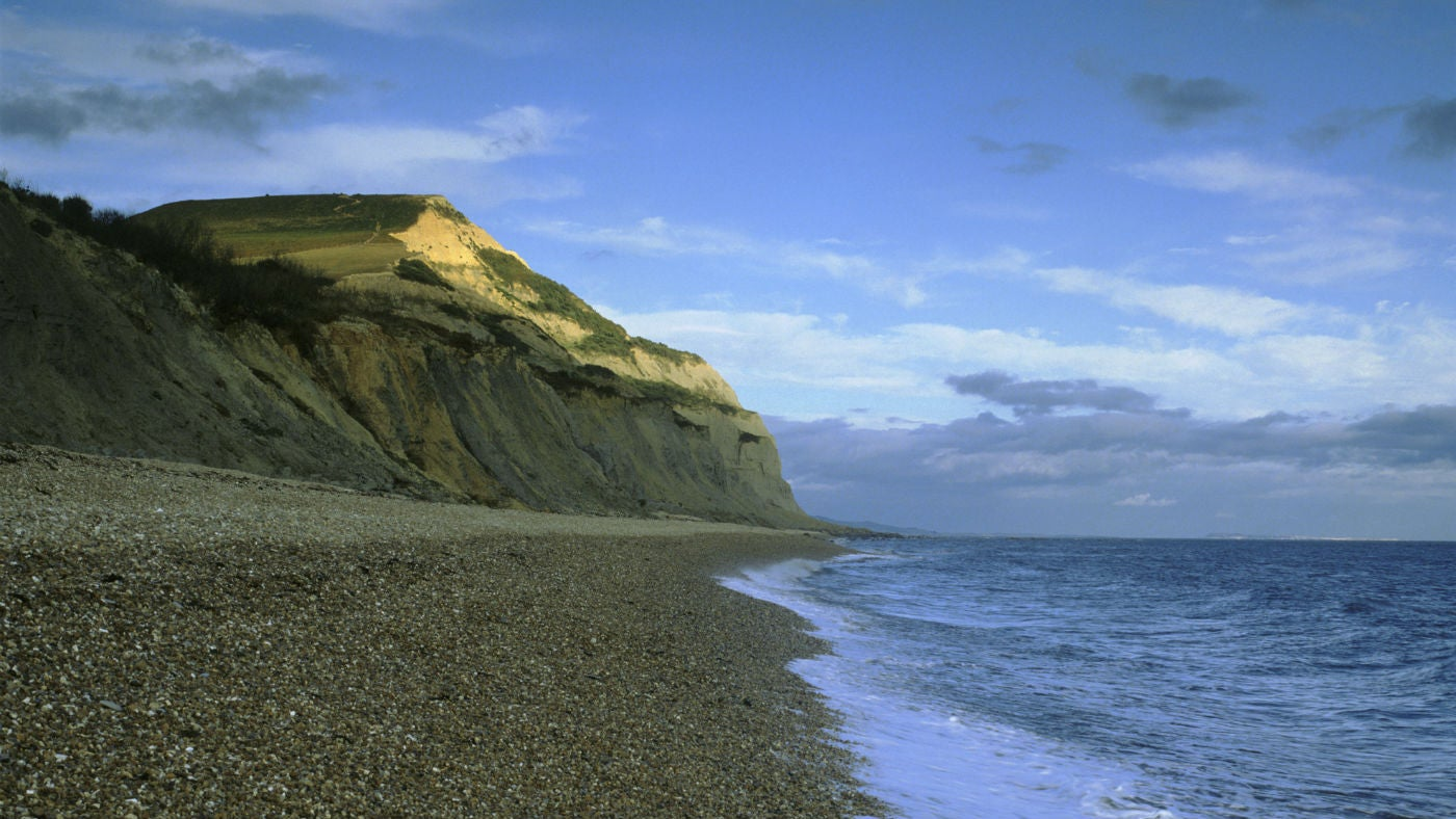A view looking at Golden Cap from St Gabriel's Mouth looking East, Dorset