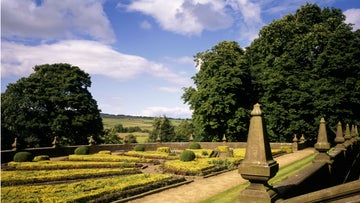 A view of the north parterre at Gawthorpe Hall, Lancashire