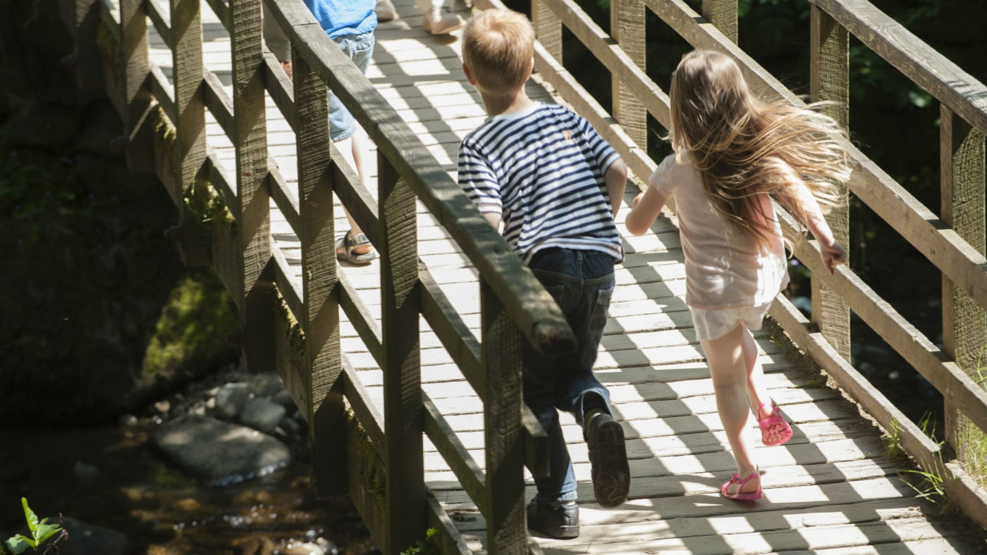 Children running over a bridge at Aira Force