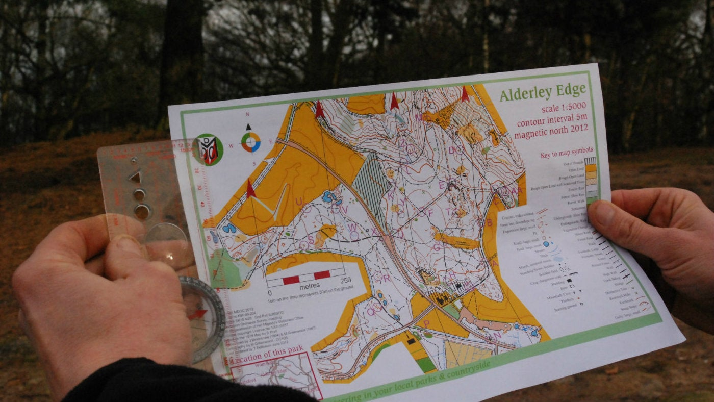 A detailed map showing the orienteering routes at Alderley Edge