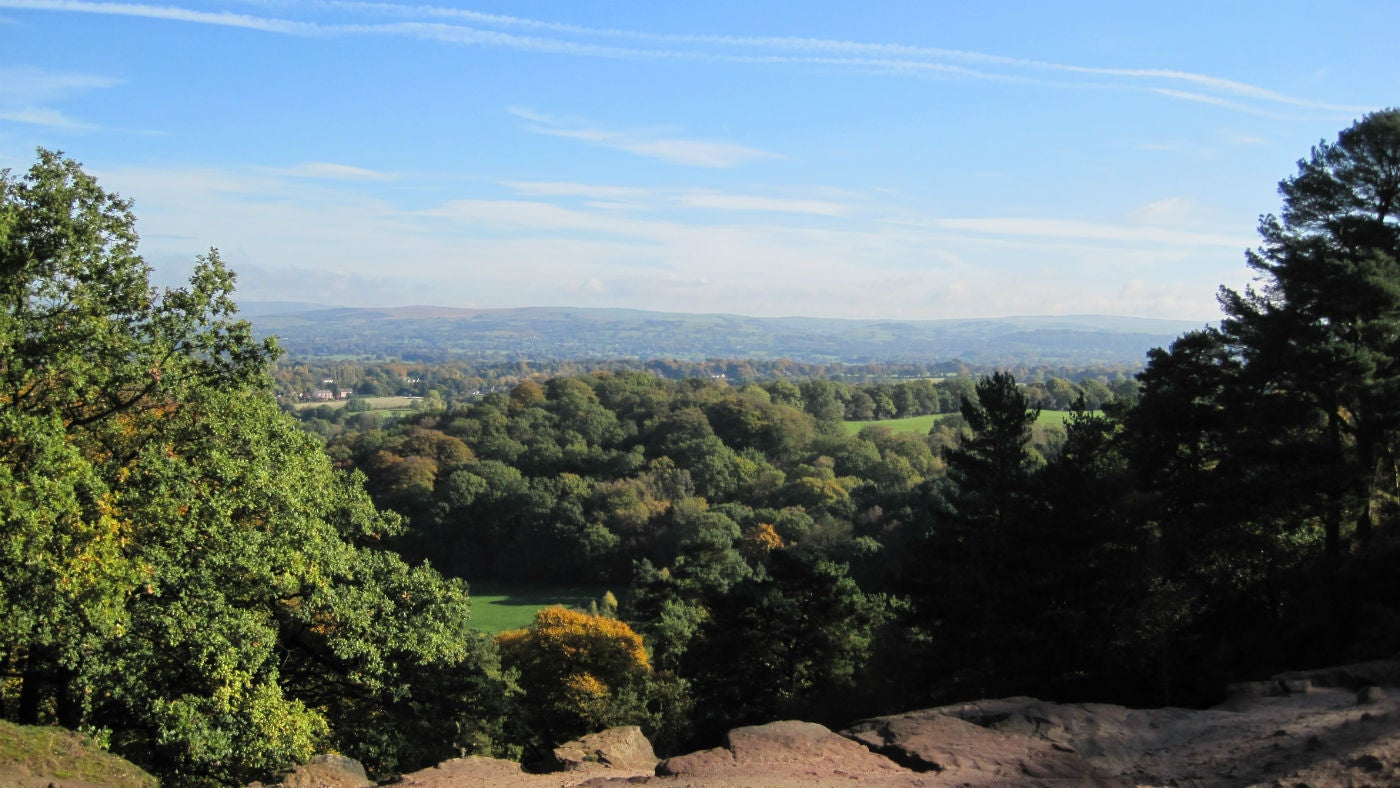 View the Cheshire landscape from Stormy Point, Alderley Edge