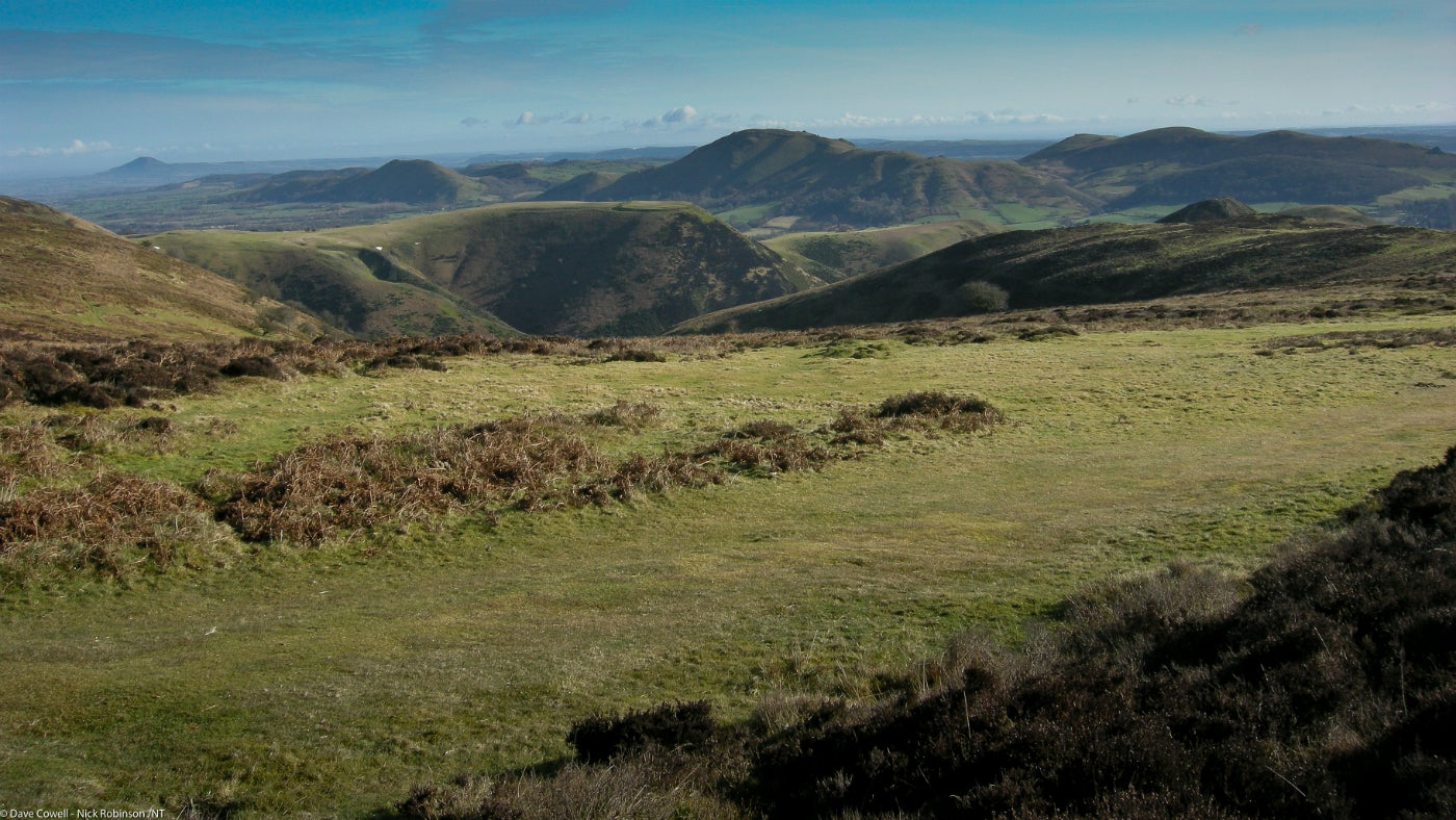 View across the Shropshire hills from the top of LongMynd