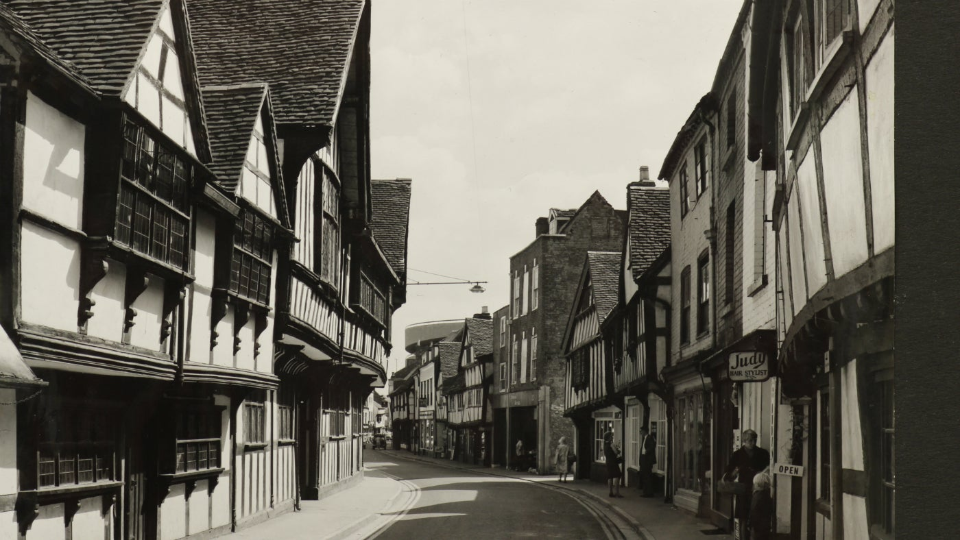 Looking down Friar Street with Greyfriars on the left hand side