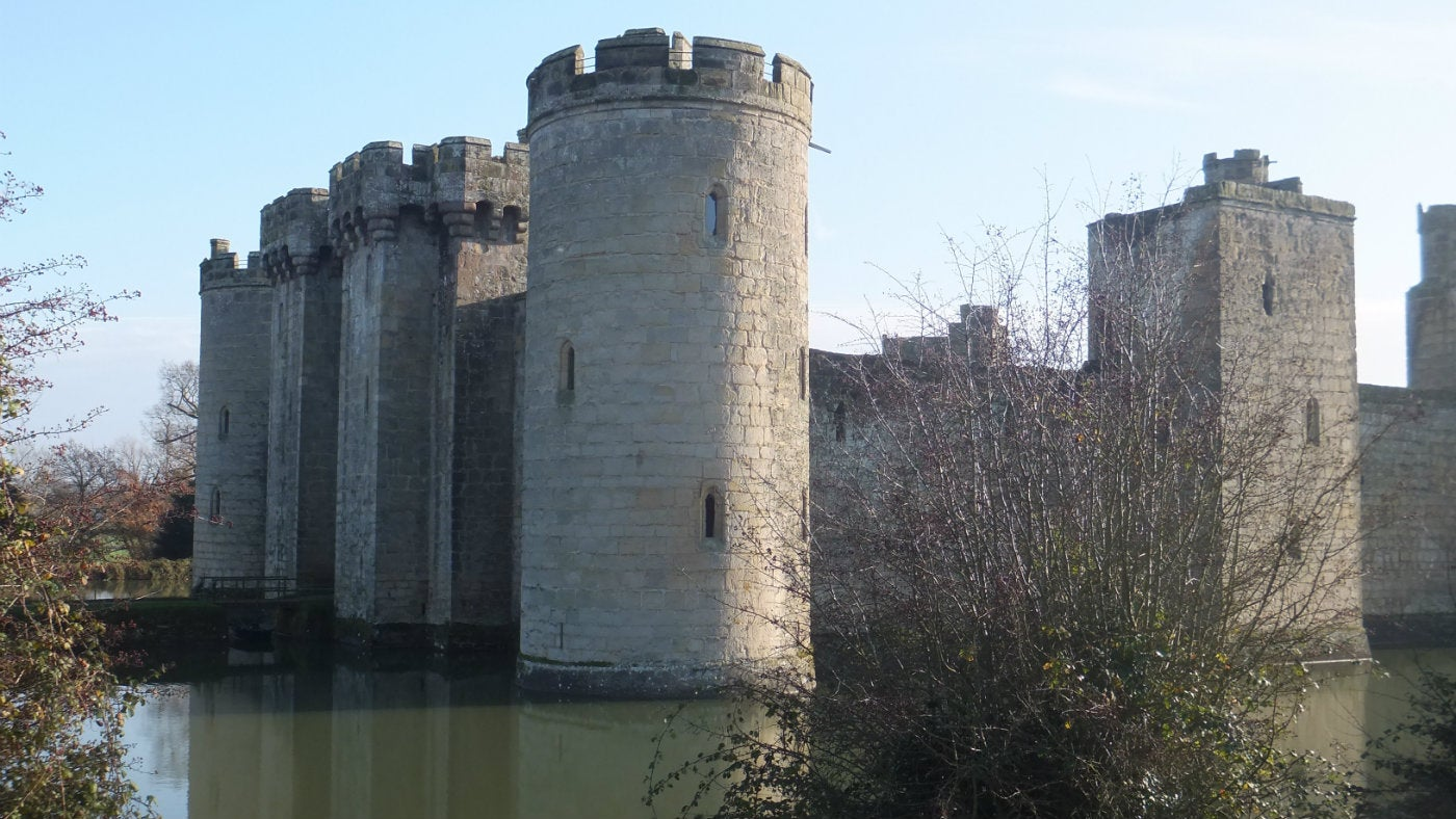 A winter view across to the NE Tower at Bodiam Castle